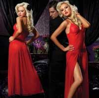 Платье с разрезом красное STM-9380red M