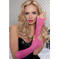 Длинные ажурные перчатки розовые HPNK