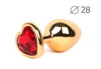 Анальное украшение с красным кристаллом в виде сердца