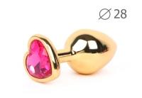 Анальное украшение с розовым кристаллом в виде сердца