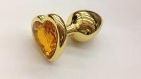 Анальное украшение с золотым кристаллом в виде сердца